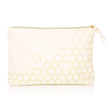 Gold Honeycomb Cosmetic Bag