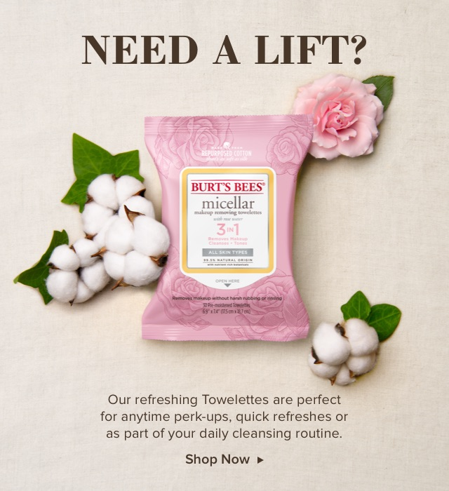 Need a lift? Our refreshing towelettes are perfect for anytime perk-ups, quick refreshes or as part of your daily cleansing routine. Shop Now.