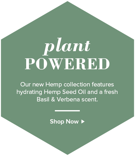 Plant Powered. Our new Hemp collection features hydrating Hemp Seed Oil and a fresh Basil & Verbena scent.