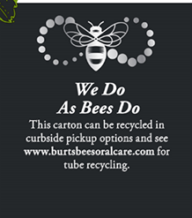 Burt's Bees Recycling Oral Care recycling program information on packaging.